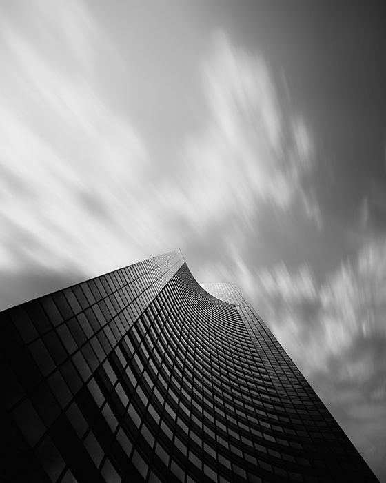 """chaos"" ©kevin saint grey I've seen this building photographed quite a few times by my friend Jeff (check out his work here: http://engelhardt.zenfolio.com/). Last summer, I took a trip up to Seattle, Washington to visit and photograph with him and this building was on my list of places to visit. There is a great mixture of curved and straight elements in this building that makes for interesting compositions. While I was walking around this building, I was taking special note of the direction of the clouds and I was looking for a way to incorporate the cloud movement with the geometry of the building."
