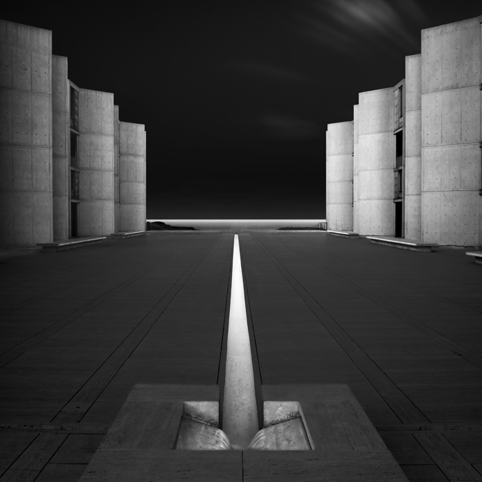 Salk-Institute (c) Joel Tjintjelaar  This was also shot in San Diego, California in 2010, and it is my first architectural photo that has all the elements that you can also see in my recent architectural work: the changing tonal relationships, the creating of a presence by adding depth in the buildings using multiple selections and tonal gradations in every element of the building, and the dark skies.  This is probably my personal favorite since this one marked the start of my architectural period.
