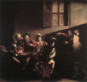 The Calling of St. Matthew, Michelangelo Merisi da Caravaggio 1600